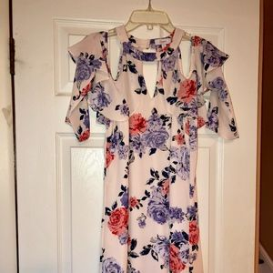 Candie's Pink Floral Cold Shoulder Dress